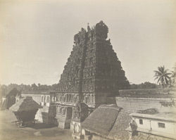 Perspective view from the north-west, Jambukesvaraswami Temple [Jambukeshvara Temple], Tiruvanaikoil [Srirangam], Trichinopoly District